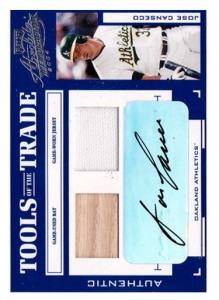 2004 absolute memorabilia tools of the trade dual bat/jersey autograph /10