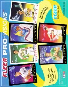 1991 FLEER PRO VISION PROMO SHEET Canada Version