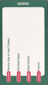 2001 Ultimate Baseball Trivia Board w/Sosa Game Card