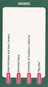 2001 Ultimate Baseball Trivia Board w/McGwire Game Card