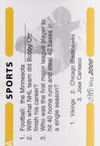 2000 MC Wiz 2000 Trivia Game Card