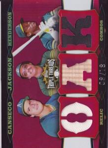 2006 Topps Triple Threads Relic Combos #219 Jsy/Reggie Jackson Bat/Rickey Henderson Cleats /18
