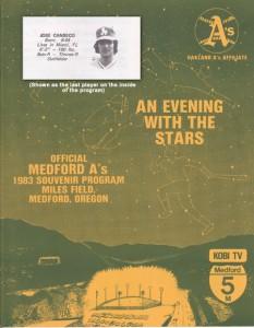 1983 Medford A's Program