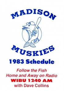 1983 Madison Muskies Pocket Schedule