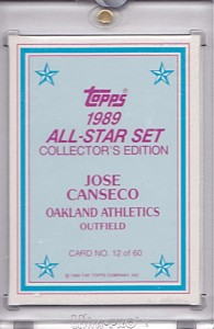 1989 Topps Glossy Send-Ins Topps Vault Color Key Back 1/1