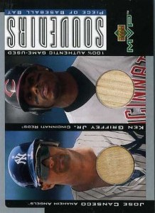 2001 Upper Deck MVP Game Souvenirs Duos Bat with Griffey