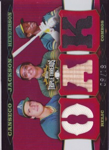 2006 Topps Triple Threads Relic Combos #219 Jsy/Reggie Jackson Bat/Rickey Henderson Cleats /18