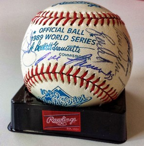 1989 World Series Game Used Team Signed Baseball