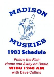 1983 Madison Muskies Pocket Schedule