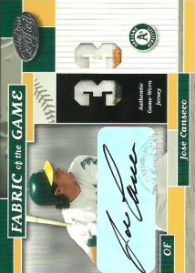 2002 Leaf Certified Fabric of the Game Autograph /10