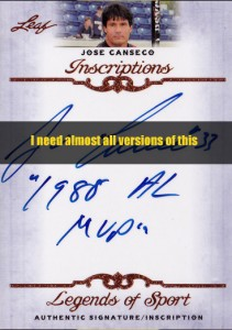 2011 Leaf Legends of Sport Inscriptions (I need almost all inscriptions)