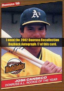 2002 Donruss Recollection Buyback   Autograph /7